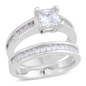 Simulated Diamond Silvertone Ring with Guard Set